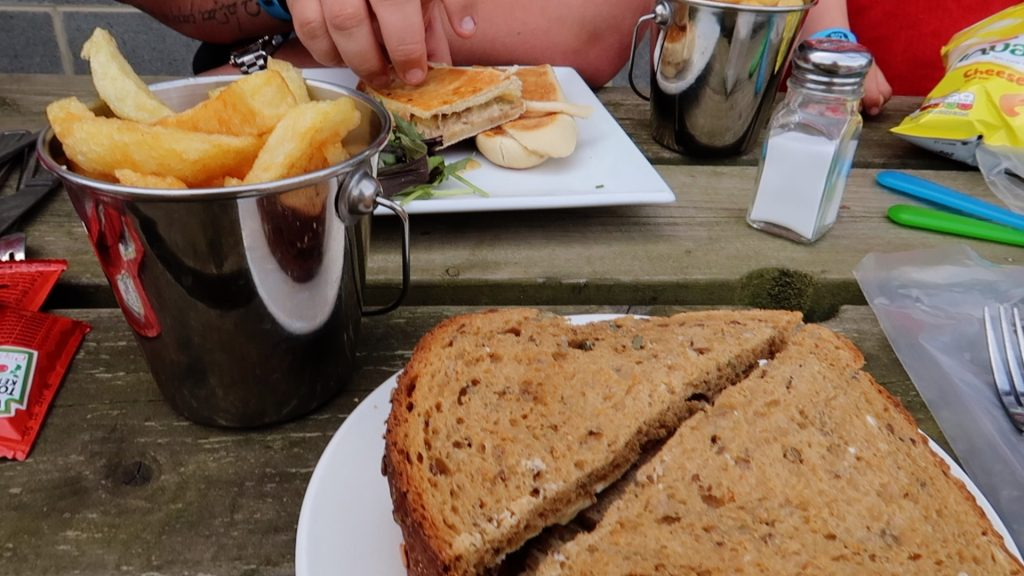 Things to do in Lincolnshire | The Pink Pig Farm, Holme near Scunthorpe chips and sandwich